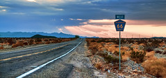 Route 66 in the Mojave Desert (Sky Noir) Tags: california road ca travel sunset usa west photography us highway desert unitedstatesofamerica 66 ludlow adventure route socal mojave amboy rt66 motherroad us66 skynoir