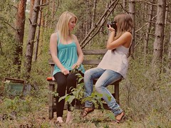 (hdora) Tags: camera old trees girls girl pine self photography photo chair woods friend sitting friendship sony best take forever zenit bff conifer