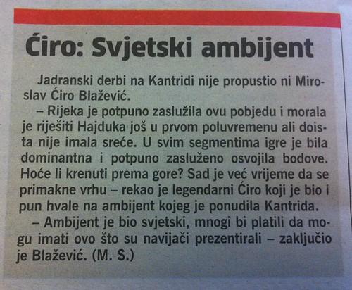 Ćiro: svjetski ambijent (Novi List, 02.09.2012)