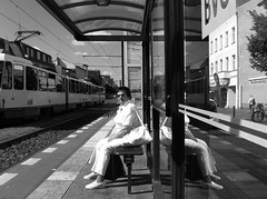 Sunny side (yammay) Tags: street white reflection berlin tram squint iphone everydaypeople