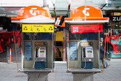 Recycling or Garbage (Chad Mauger) Tags: mall garbage phone phonebooth doubleexposure australia bin payphone adelaide recycle southaustralia