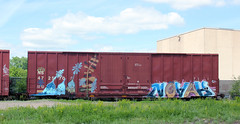 RP Novah (The Braindead) Tags: street art minnesota train bench photography graffiti interesting flickr painted tracks minneapolis twin rail explore most beyond rp the braindead cites flickrs novah thebraindead