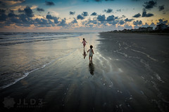 Childplay (Jim | jld3 photography) Tags: girls sunset galveston reflection beach clouds contrast children fun evening waves play open sony small wide cybershot run chase vignette contrasty expanse rx100 dscrx100