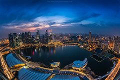 180 degree Marina Bay,Singapore (: : T O N I : :) Tags: park city travel bridge light sea sky sculpture game building tourism fountain beautiful beauty statue skyline architecture modern skyscraper marina river landscape outdoors corporate hotel bay office singapore colorful asia cityscape symbol head lion landmark scene icon tourist casino structure business sands bet luxury attraction finance