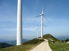 Elevated Wind Turbines (Batikart) Tags: road blue sky sun mountains nature clouds rural canon landscape outdoors