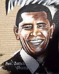 PRESIDENT BARACK OBAMA Graffiti Mural, Bronx, New York City (jag9889) Tags: street city nyc school portrait ny newyork art public graffiti mural artist african bronx president american melrose borough 2012 eaglestreet possibilities barackobama ps140 jag9889 y2012