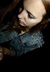every reason, every hope (Johanna Szyg) Tags: blue light portrait black girl metal self dark myself notebook point grey eyes view nicholas jeans jacket smokey sparks dunkel the