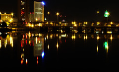 (cayceerae) Tags: city night river landscape lights town cedarrapids