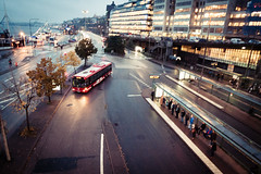 Bus terminal [explored] (Fredrik Forsberg) Tags: urban bus sweden stockholm dusk passengers rainy queue slussen busterminal busstops explored ejitrafik panasoniclx3