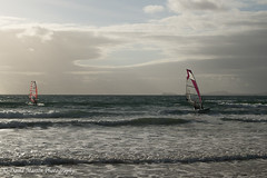 Windsurfing at Newgale (Midgehole Dave) Tags: sea water wales windsurfing pembrokeshire newgale yahoo:yourpictures=waterv2