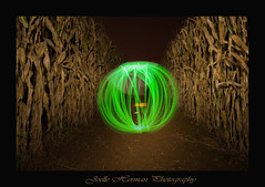 Corn Maze path Mysterious Glow (jneo) Tags: eve lightpainting night evening globe corn path farm alien orb round maze cornmaze nikond90 blinkagain