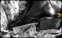 Tucked in the Original Dr Martens. (CWhatPhotos) Tags: cwhatphotos dr marten 1460 pascal grey charcoal docs dm dms martens artistic view depth field dof airwair yellow stitching bouncing soles boot boots photographs photograph pics pictures pic picture image images foto fotos photography that have which contain partial selective select color colour