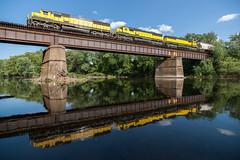 Susquehanna Reflector (sullivan1985) Tags: railroad summer reflection train newjersey nj july railway hawthorne westbound yellowjacket susquehanna susieq passaicriver emd sd60 nysw newyorksusquehannawestern su99 nysw3804 nysw3802 nysw3806