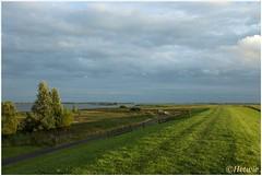 avondzon over de dijk (HP015053) (Hetwie) Tags: wandelen outdoor buiten kamperen zonsondergang zon lucht sky dijk sun avondzon friesland esonstad eseonstad nederland