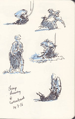 Page 15 (tanaudel) Tags: sketchbook sketching moleskine drawing illustration travel traveljournal england chagford devon dartmoor sheep shearing farm greenbankchagford chickens chicken chooks chook hens poultry guineafowl flowers foxglove poppy rooster holly