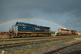 Double rainbow over shop track