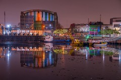 Reflejos del ro sucio (karinavera) Tags: travel nikond5300 reflections night urban street colors argentina laboca river wallart buenosaires industrial longexposure city