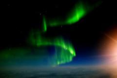 Inflight entertainment YYZ->KEF @32000 feet (Jamie McCaffrey) Tags: space sky northernlights auroraborealis inflight icelandair canada x100s longexposure iceland onvacation horizon night green beautiful newfoundlandandlabrador