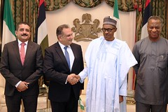 President Buhari with R-L Minister of Foreign Affairs Geoffrey Onyeama, H.E. Mr Asharaf Abdelkader Salama and Ahmed Maher Akl as he receives in farewell audience H.E. Mr Asharaf Abdelkader Salama, the Outgo