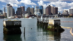 Lewis Wharf Remains, Boston MA (Boston Runner) Tags: eastboston harborwalk massachusetts 2016 tour bostonhabornow remains decay lewiswharf pier damage skyline harbor