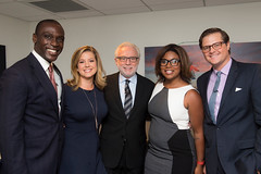 CNN's Eugene Scott, Brianna Keilar, Wolf Blitzer, Juana Summers and Chris Moody prior to taking the stage.