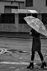 Umbrella Girl (Tom Shearsmith Photography) Tags: umbrella water rain boots fashion bw photography photoshop photo hull landscape portrait winter autumn hdr tone tonemap street streetlife humber humberside