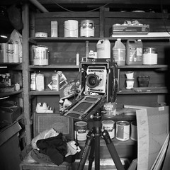 Busy morning in a rustic New England basement. #largeformat #4x5 #photoshoot #basement #boston #newengland #massachusetts #bw #rustic