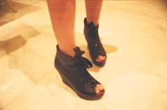 Shoes #1 (MaskedPanda) Tags: black film feet 35mm foot la lomo lomography shoes sardina heels domino