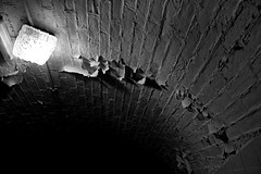 (The New Motive Power) Tags: light shadow sea blackandwhite black brick texture abandoned lines dark peeling paint glow moody bright fort decay military perspective victorian arc dramatic ceiling historic spooky isleofwight solent portsmouth rough vaulted fixture fortress derelict nomansland defence fitting canon7d