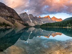 Moraine Sunrise (Younes B.) Tags: amanda canada mountains rockies photography large alberta rockymountain banff younes doublespace bounhar
