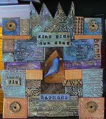 Sing Your Own Song (debrossart) Tags: blue music green bird gold shrine crystals purple box polymerclay clay mica stamped