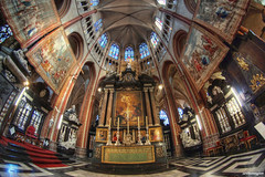 Brugge (Sarah Vn) Tags: summer test church architecture high candles catholic dynamic belgium belgique belgie interior sony jesus pillar paintings brugge churches september christian fisheye altar pro bruges belgian christianity pillars 8mm range hdr sacrifice 2012 relgion a77 jezus photomatix samyang alpha77