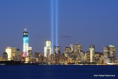 Tribute in Light 2012 (Rafakoy) Tags: city nyc longexposure urban sculpture ny newyork color colour building tower water colors skyline architecture night digital skyscraper buildings memorial downtown cityscape colours anniversary manhattan worldtradecenter towers 911 september112001 twintowers hudsonriver statueofliberty september11 tributeinlight september11th neoclassical libertyisland 2012 newyorkharbor freedomtower libertyenlighteningtheworld september11attacks 1wtc unitedairlinesflight175 americanairlinesflight11 afnikkor70210mm nikond800 oneworldtradecenter