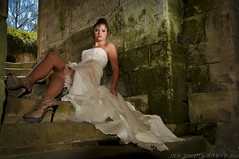 Jilted at the alter (JRT ©) Tags: corynactualmaiden model sexy legs bride trashthedress jilted ripped torn steps guyscliffehouse speedlight offcameraflash snoot stonework old bricks hedge trees sky sun sunny nikon d300s johnwarwood