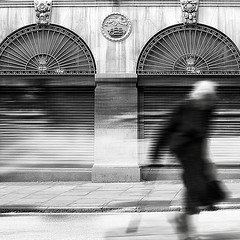 voyage (White_V) Tags: voyage street woman motion london canon walking 2012 whiteandblack ladyelderly