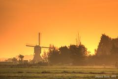 End-of-summer sunrise (HDR) (Stephan Neven) Tags: autumn summer mill netherlands windmill sunrise nederland molen schoonhoven vlist bonrepas