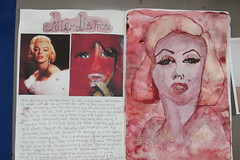Marilyn (Lottie Percival.11) Tags: pink colour art college water dumas marilyn ink book sketch marlene study monroe feminism a2