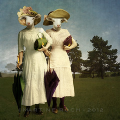 The young ladies (Martine Roch) Tags: ladies portrait art animal photoshop square costume adorable surreal retro photomontage lamb roch manray flypaper texturesmartine