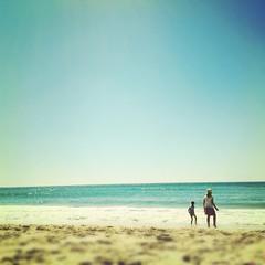 Burleigh Heads (Hueystar) Tags: ocean travel blue sea sky holiday playing beach water smart mobile square coast sand child phone heads 4s iphone burleigh hipstamatic instagram