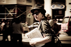 In a Hurry (Daria Angeli) Tags: street nyc urban usa ny face hat sunglasses brooklyn expression brooklynheights september 2012 brooklynbookfestival