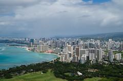 Waikiki Beach (andreaskoeberl) Tags: city longexposure travel tourism skyline hawaii nikon cityscape cloudy waikiki oahu overcast diamondhead honolulu hotels waikikibeach ndfilter d7000 nikond7000 andreaskoeberl