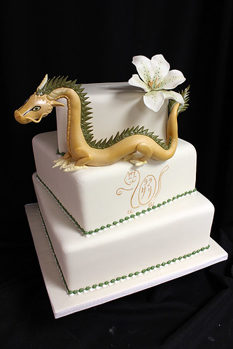 Dragon Square Off-Set Wedding Cake