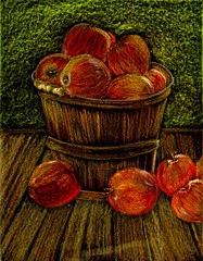 Apple Basket (traqair57) Tags: stilllife art harvest apples crayons vangogh appleart applesinabasket stushie