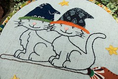 Night Flight (Bustle & Sew) Tags: cats halloween pattern witch embroidery kittens broomstick