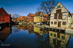 Den Gamle By (Andrea Rapisarda) Tags: red colors yellow architecture reflections river denmark nikon colore vibrant fiume ngc tokina giallo polarizer oldtown rosso danmark colori riflessi architettura oldhouses nationalgeographic danimarca dengamleby nohdr d7000 tokina1116mmf28