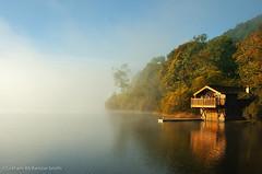 Ullswater Boathouse (gms) Tags: morning autumn mist reflection fog lakedistrict calm cumbria serene boathouse ullswater pooleybridge