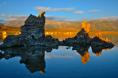 Mono Morning Glow (David Shield Photography) Tags: longexposure morning sky mountains color reflection water clouds sunrise landscape nikon glow monolake easternsierras calofornia tufas southtufa singhray davidshield