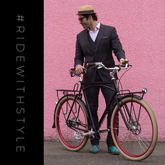 This is how I roll. (Paul Krueger) Tags: instagramapp square squareformat iphoneography uploaded:by=instagram cycling fashion bikefashion cyclechic vancouver style suit pink hat sycip bikestyle bikevancouver vancouverfashion momentummagazine