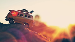Less Monday!  More Summer! (Sandra H-K) Tags: miniature bus vwbus vw toyphotography toy toybus sunshine sunflare lensflare sunny sunlight vintage depthoffield dof backlighting outside outdoors gold golden goldenhour yellow bright
