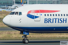 British Airways Boeing 767-336(ER) G-BNWZ (714339) (Thomas Becker) Tags: british airways baw boeing b767 767 336 763 b763 gbnwz oneworld cn 25733 ln 648 110297 250297 ba903 london lhr fraport flughafen airport aeroport aeropuerto aeroporto fra eddf frankfurt plane spotting aircraft airplane avion aeroplano aereo  vliegtuig aviao  samolot flugzeug germany deutschland hessen rheinmain nikon d7200 nikkor 80400g dx raw gps aviationphoto cthomasbecker 160817 taxiing geotagged geo:lat=50039523 geo:lon=8596970 aerotagged aero:airline=baw aero:man=boeing aero:model=767 aero:series=300 aero:special=er aero:tail=gbnwz aero:airport=eddf